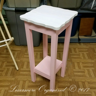 Bottom painted with pink wall paint to match dresser. Top painted white with self-leveling cabinet paint.